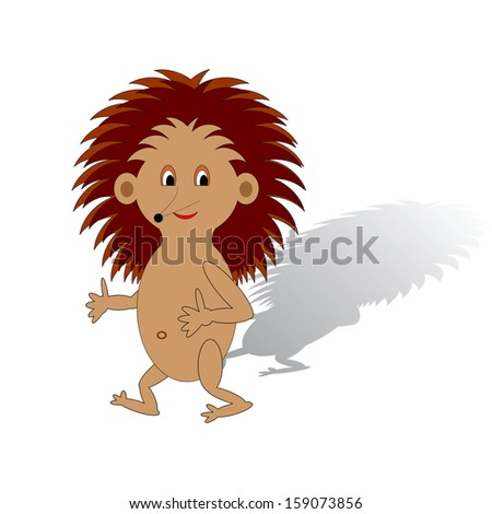 A funny cartoon hedgehog on a white background. Vector-art illustration - stock vector