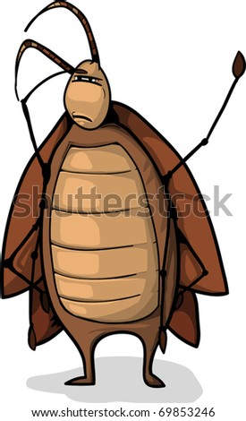 a funny cartoon roach looking for something. - stock vector