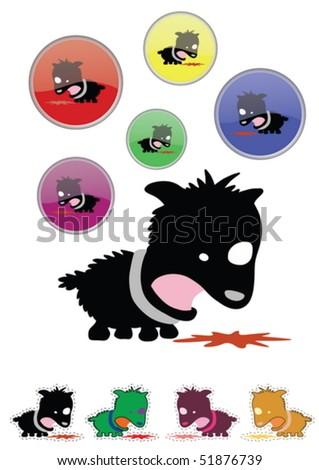 A funny cartoon style sick puppy - stock vector