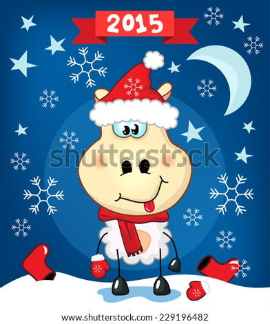 A funny cheerful young sheep (ram, mouton) in a red hat at night. Vector illustration for a greeting card of New Year, Christmas.
