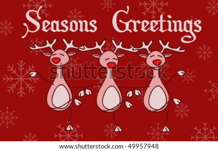 A funny Christmas card with dancing reindeer - stock vector