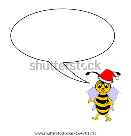 A funny Christmas cartoon bee with a talking bubble. Vector-art illustration on a white background