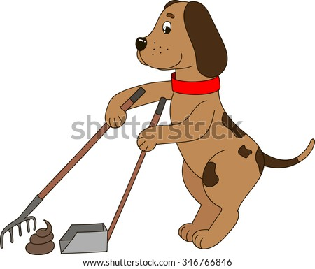 a funny dog cleaning up his new creation - stock vector