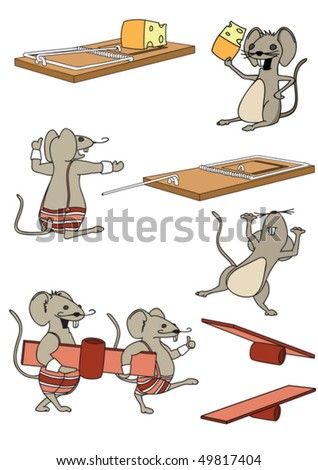 A funny set mice in a cartoon style - stock vector