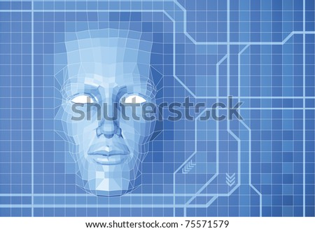 A futuristic polygon face forming out of grid screen conceptual background. - stock vector
