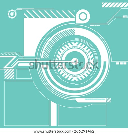 A futuristic vector circle graphic surrounded with technical looking elements.