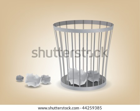 A garbage can and a couple of paper balls. - stock vector
