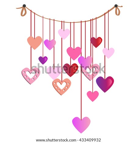 A garland of bright paper hearts. Vector illustration.