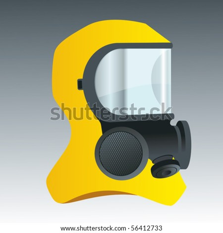 A gas mask with a yellow hood. - stock vector
