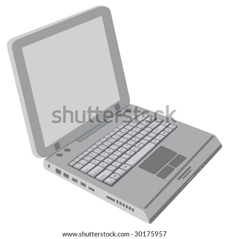 A generic gray laptop isolated on white background.