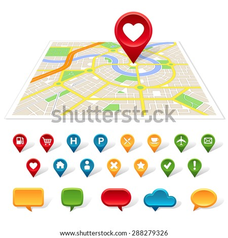 A generic map of a city with colorful place icons and speech bubbles below it. - stock vector
