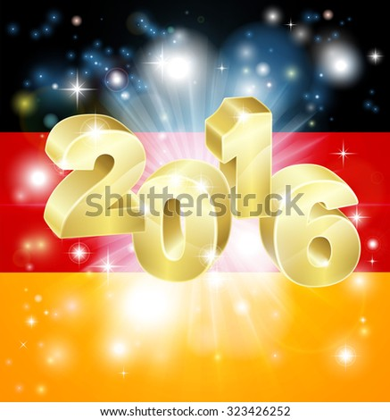 A German flag with 2016 coming out of it with fireworks. Concept for New Year or anything exciting happening in Germany in the year 2016. - stock vector
