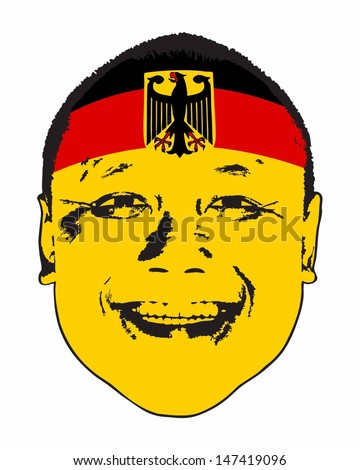 A Germany flag on a face, isolated against white.  - stock vector