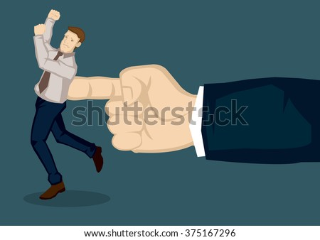 A giant hand pushing at business executive. Creative vector illustration on metaphor for giving the push at work isolated on green background. - stock vector