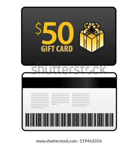A $50 gift card, front and back, shown front-on. - stock vector