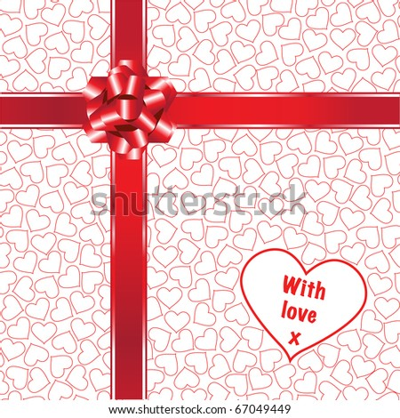 A gift with red ribbons, bow and love hearts. Fully editable for insertion of your own text. EPS10 vector format. - stock vector