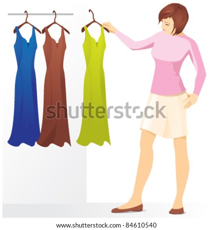 A girl chooses a dress