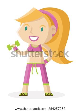 a girl doing fitness - stock vector