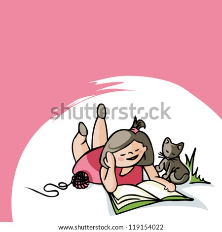 A girl is reading with a cat. - stock vector