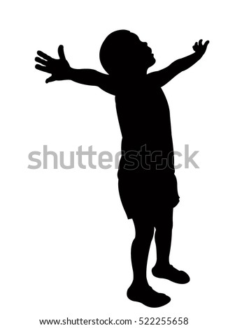 girl looking opened arm silhouette vector stock vector