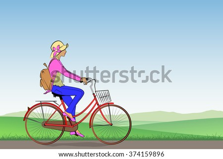 A Girl on a Bicycle with Meadow Landscape - stock vector