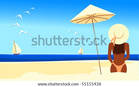 A girl on the beach, seen from behind. Vector illustration