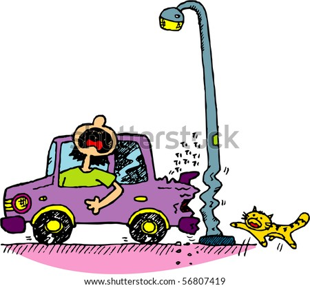 A girl reversing her car, hitting lamp post instead. - stock vector
