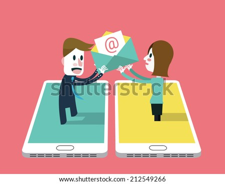 A girl sent email to A man on smartphone . social networking concept. flat design vector illustration - stock vector