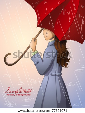 A girl with a red umbrella - stock vector