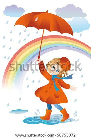 A girl with a red umbrella goes for a walk in the rain - stock vector