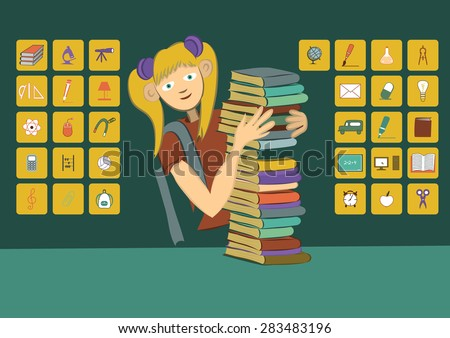 A girl with books. School icons. - stock vector