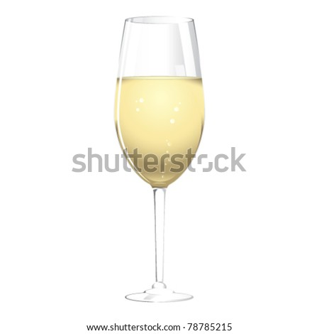 A glass of champagne, isolated on a white