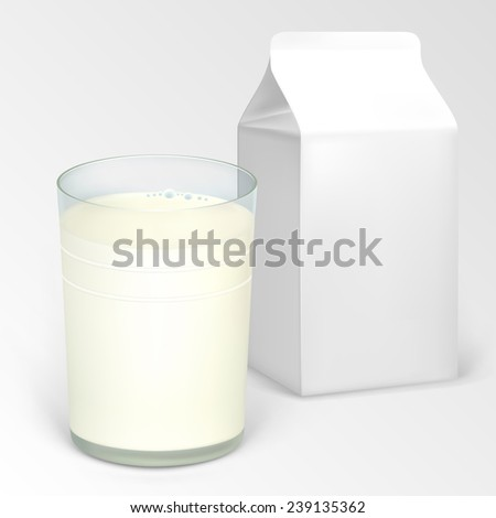 A glass of milk and a half-liter box for dairy products.