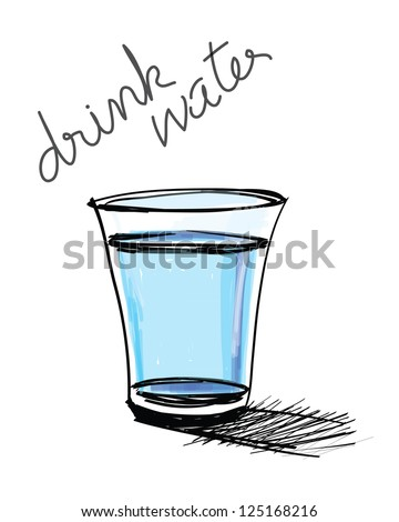a glass of water hand drawn - stock vector