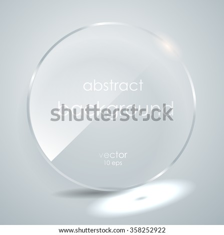 A glass plate with a place for inscriptions. vector. Flat glass. Glass framework. Vector illustration. Eps10. Photo realistic vector illustration - stock vector