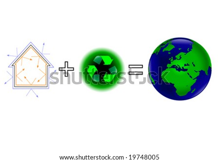 A global warming vector illustration showing that energy efficiency plus recycling keeps a healthy green earth - stock vector