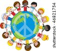 A globe with the peace sign on it and children dressed in their countries flag surround it - stock vector