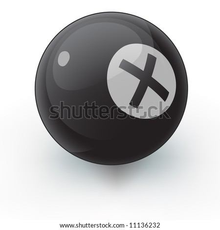 A glossy pool ball with an X on it instead of an eight. An interesting vector illustration that coudl suite many random variable purposes.