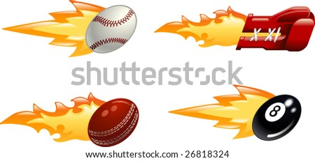 A glossy shiny flaming sport icon set. Baseball ball, boxing glove, cricket ball and black pool eight ball flying fast through the air with flames and fire shooting out the back - stock vector