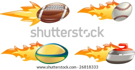 A glossy shiny sport icon set with flames and fire. American football ball, baseball ball, rugby ball and curling stone flying fast through the air with flames and fire jetting out the back - stock vector