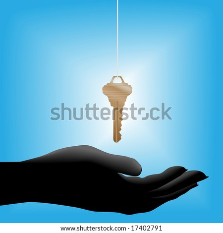 A glowing shiny brass house key on a string drops into a cupped open hand held out, symbolic of a real estate sale. - stock vector