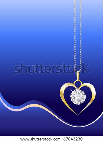 A gold and diamond necklace on abstract blue background. Space for your text. EPS10 vector format. - stock vector