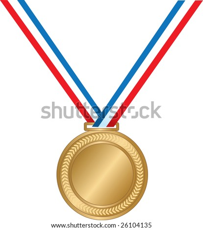 A gold medal on a striped ribbon