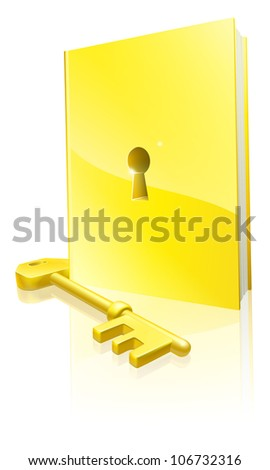 A golden locked book with a key. Education concept.