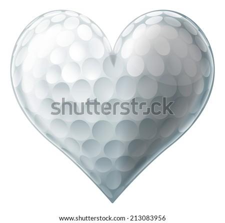 A golf ball heart, conceptual illustration for a love of golf - stock vector