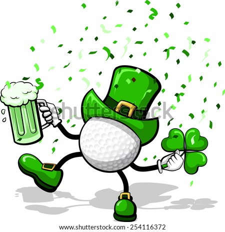 A golf ball leprechaun celebrating St. Patrick's Day by dancing with a three leave clover, green beer, and confetti. - stock vector