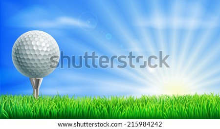 A golf ball on its tee in a green grass field golf course with sun rising. - stock vector