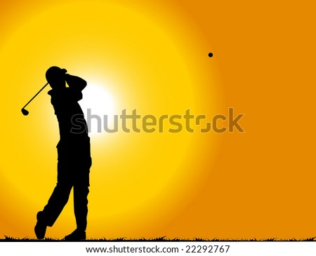A golfer playing at sunset - stock vector