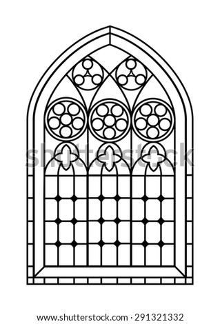 A Gothic Style stained glass window in black and white. Outline drawing  colouring activity page. EPS10 vector format. - stock vector