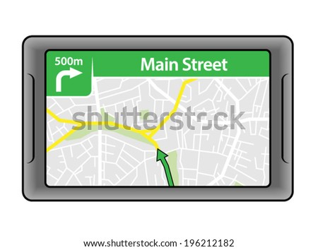 A GPS navigation unit. - stock vector
